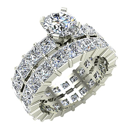 7.72 ct tw Round Center Princess Eternity Diamond Wedding Ring Set 14K White Gold (Ring Size 7) (Princess Eternity Band Set Diamond)