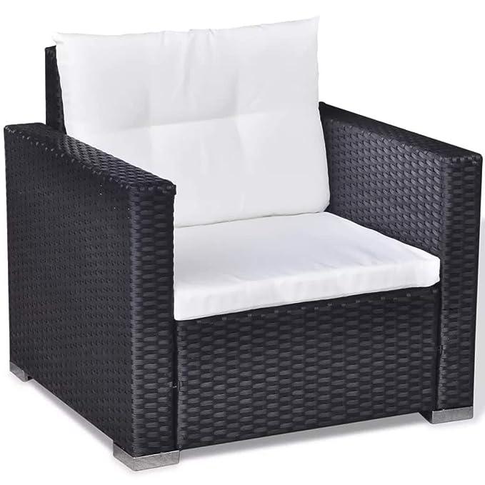 vidaXL Conjunto de Muebles de Jardín Exterior 17 Piezas de Poli Ratan Negro