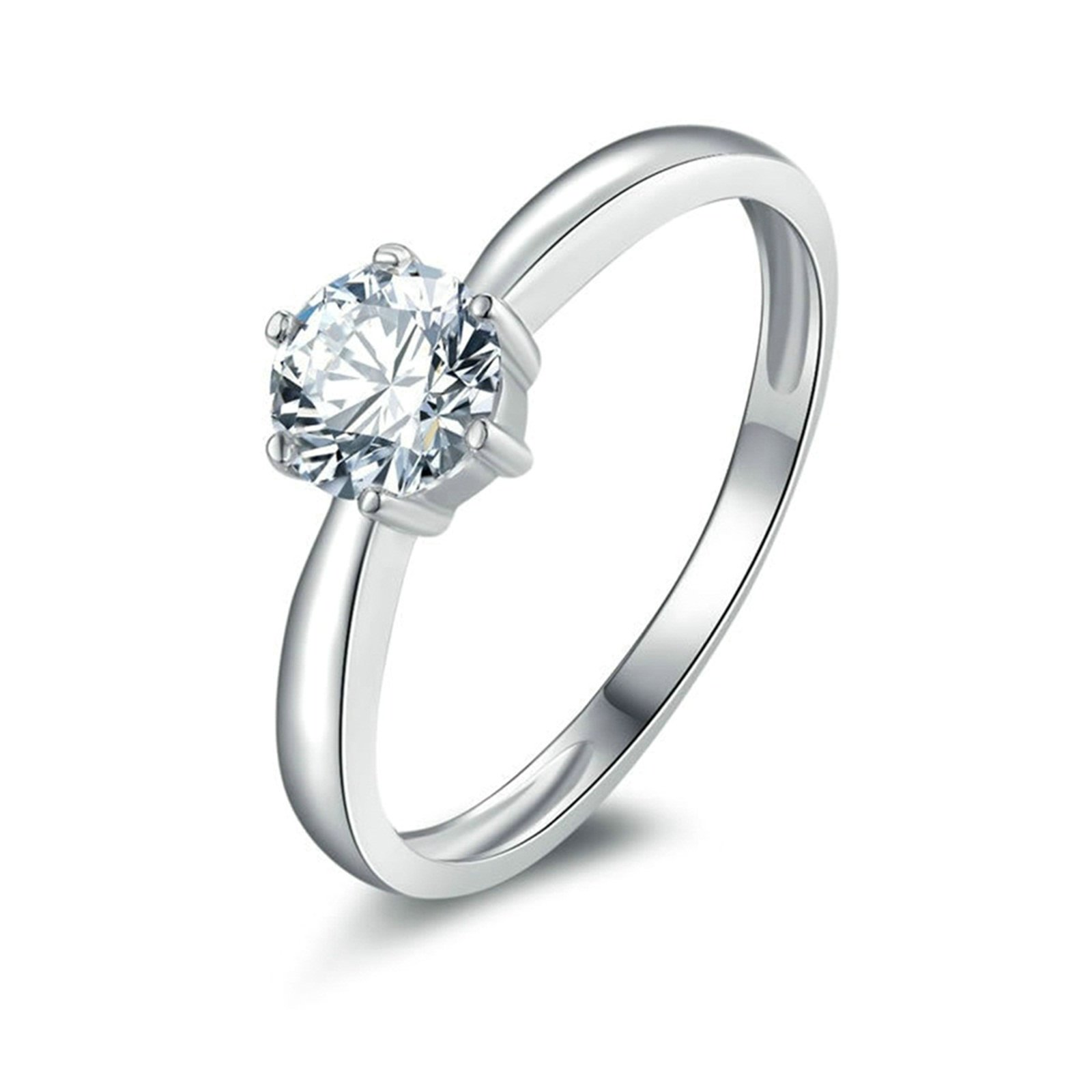 Daesar Promise Rings for Her Customize 6-Prong Setting Round Cubic Zirconia Ring Size 11