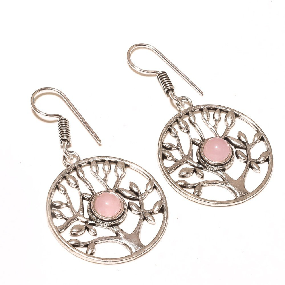 Pink Rose Quartz Sterling Silver Overlay 10 Grams Earring 2 Long Gorgeous