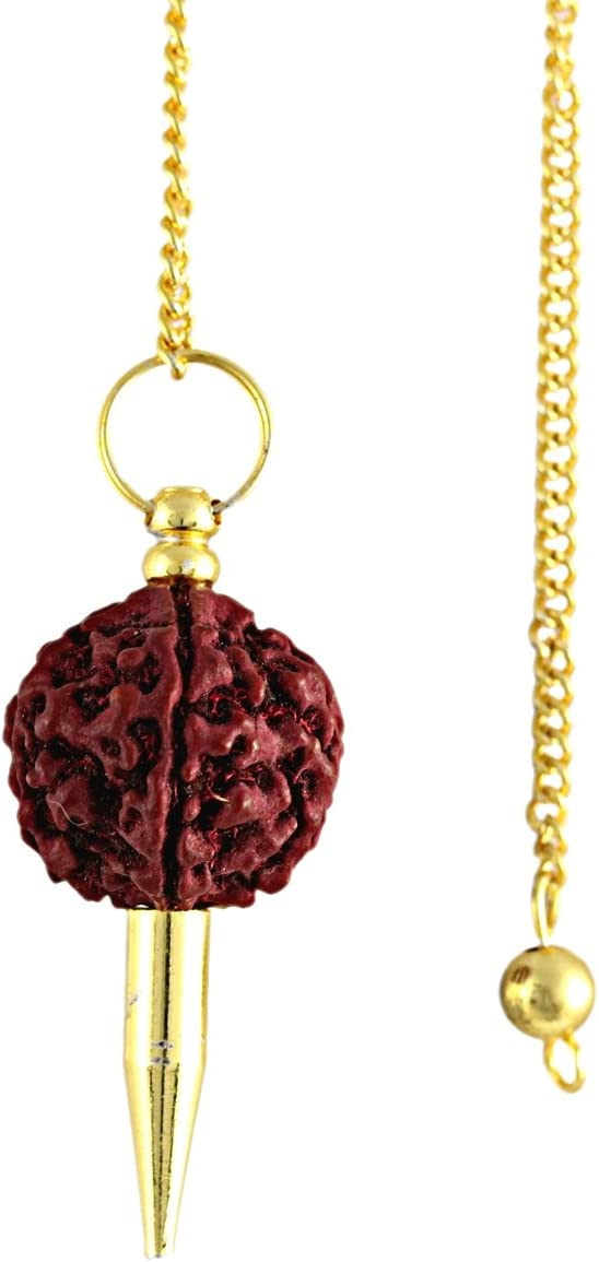 Reviheal /™ Rudraksh y piedra de metal para armonizar el p/éndulo espiral Equilibrar la cara de energ/ía Dowsing espiritual