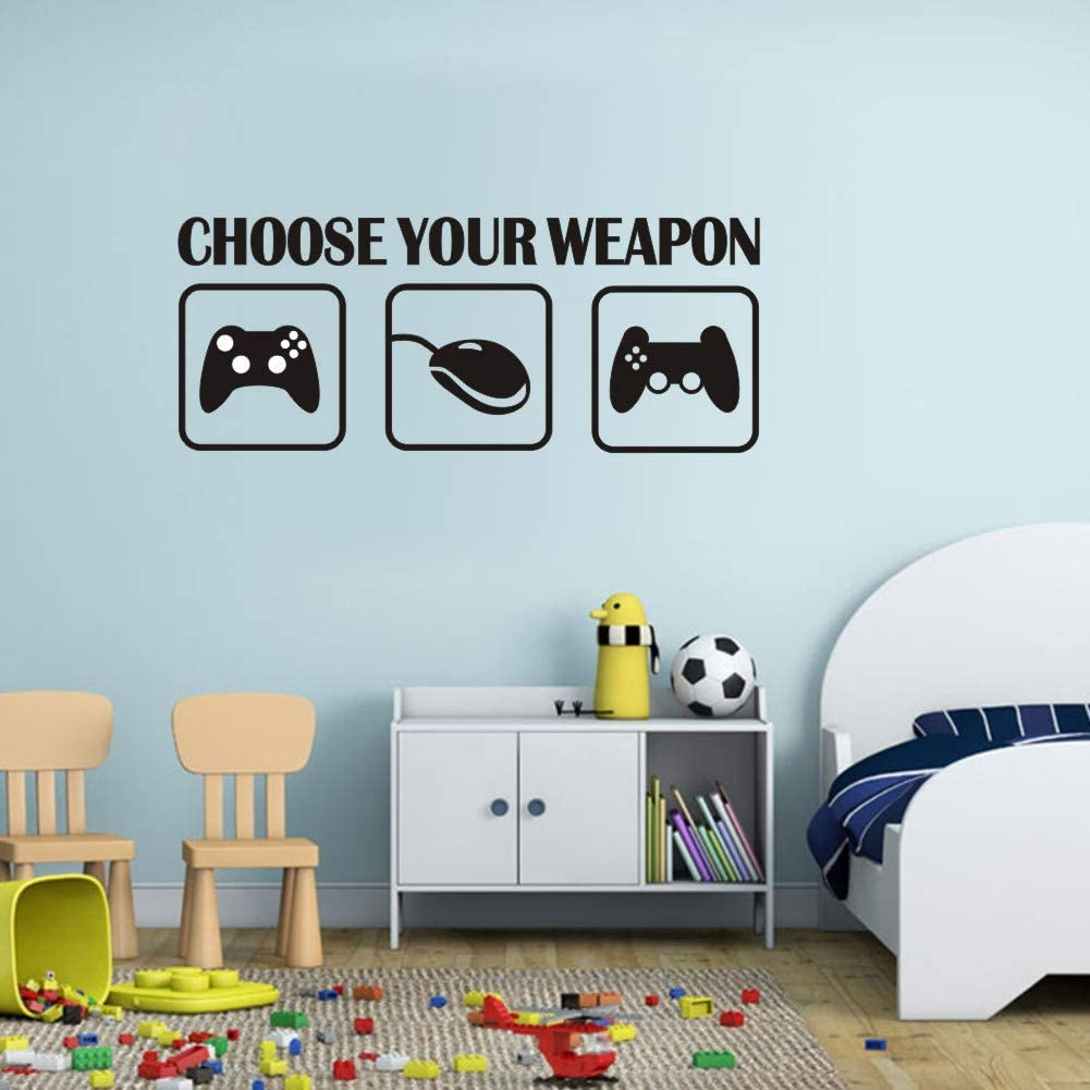 "Video Gamer Wall Sticker,(Black) Vinyl Game Controllers Decal Gaming Quote Joysticks Wall Art Lettering Sticker for Teen Play Room Decor-""Choose Your Weapon"""