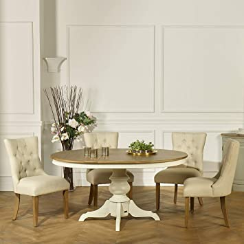 Robin Des Bois Table Ronde Extensible 6 A 8 Couverts Blanche Ariane
