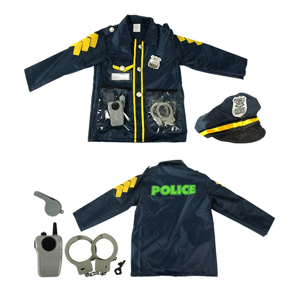TOPTIE 4 Sets Kids' Role Play Costume Doctor Surgeon Police Officer Fire Chief White by TOPTIE (Image #6)