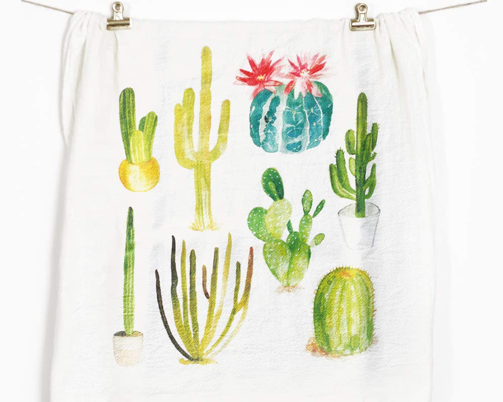 Honey Brush Design Kitchen Dish Towel 100% Cotton Flour Sack Tea Towel (Cactus)