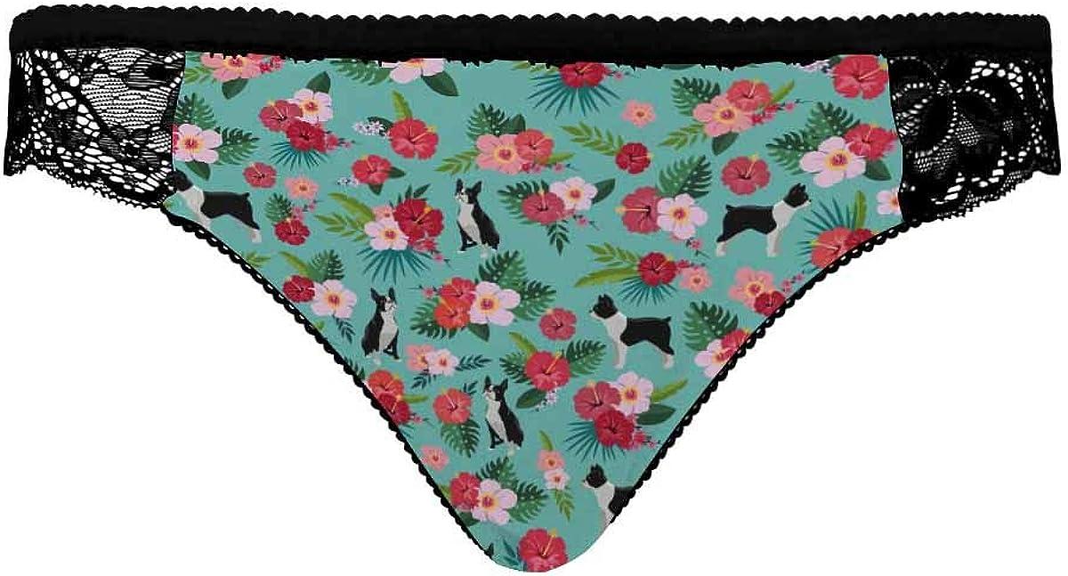 INTERESTPRINT Women Lace Underwear Low Waist Briefs Soft Pantie Breathable Panties Boston Terrier Floral Dress