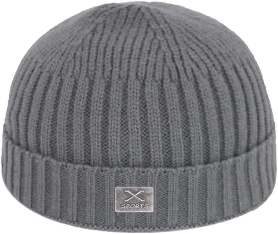 JKFXMN Short Skullcap Skullies Beanies Hombres Winter Beanie Mujeres Sombreros para Gorras Bonnet Skull Knitted Hat Grey