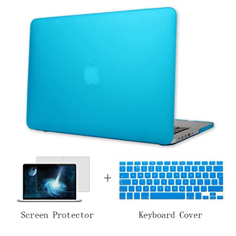 Batianda Plástico Funda Dura Carcasa para MacBook Pro 15 Retina & Cubierta del Teclado & Protector de Pantalla,Cielo Azul