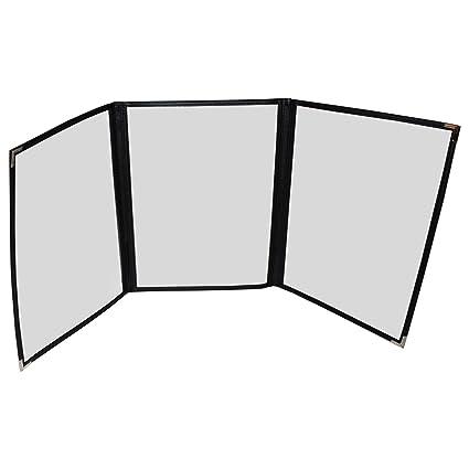 Cubiertas Tres Pliegues para Menús - Pack de 5 Cubiertas Estilo Americano Costura Doble Ribete Negro Protectores de Esquina Acero Inoxidable - para ...
