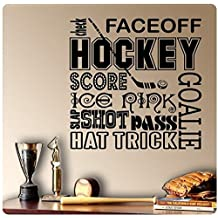 Home Decor Hockey Sport Sayings Wall Decal Sticker Art Mural Quote for Living Room