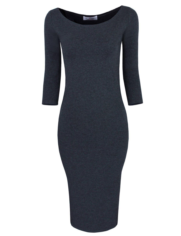 TAM WARE Womens Classic Slim Fit Bodycon Midi Dress TWCWD059-CHARCOAL-US XXL