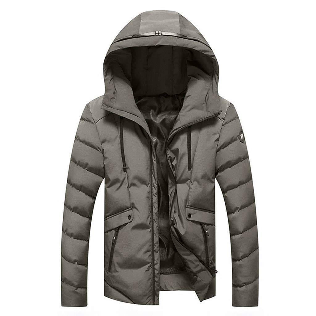 Kaniem Hooded Jacket,Mens Quilted Flannel Lined Zipper Pockets Hoodie Trench Coat Outerwear (M, Gray)