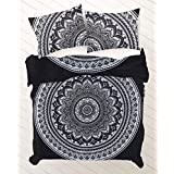 Sophia Art Indian Exclusive Ombre Mandala Queen Size Comforter Hippie Boho Cotton Doona Duvet Cover Indian Comforter Mandala Hippie Bohemian Queen Quilt Cover Set With Pilow (Black)