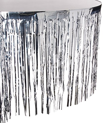 (Silver Metallic Fringed Table Skirt | Party)