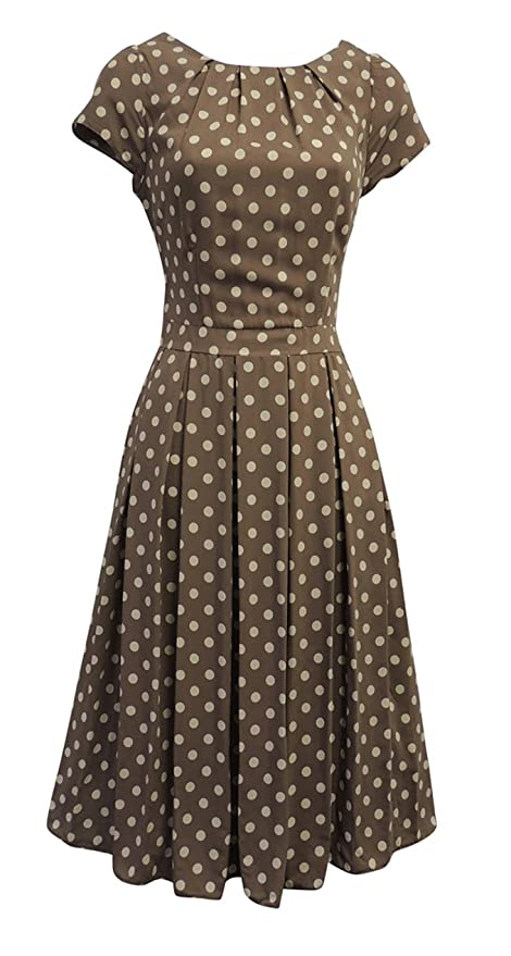 1940s Dresses | 40s Dress, Swing Dress Viva-la-Rosa New Ladies Polka Dot WWII 1930s/40s VTG Style Land Girl Swing Tea Dress £28.99 AT vintagedancer.com