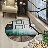 Clock Round Rugs for Bedroom A Vintage Clock and Empty Picture Frames in an Old Room Wooden Backdrop PrintOriental Floor and Carpets Green and Brown