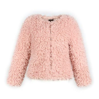 sale retailer 36504 030e9 FIRSS Damen Plüsch Coat | Kurz Coat | Rundhals Mantel ...