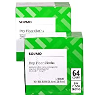 Amazon Brand - Solimo Dry Floor Cloths, 64 Count (2 Packs of 32 Cloths)