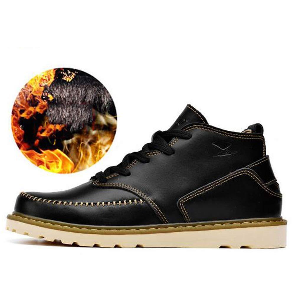 GZZ Schuhe Herren Martin Stiefel Herbst Und Winter Plus Samt Warme Atmungsaktive Beiläufige Lederne Schuhe Im Freien Rutschfeste,schwarz-42