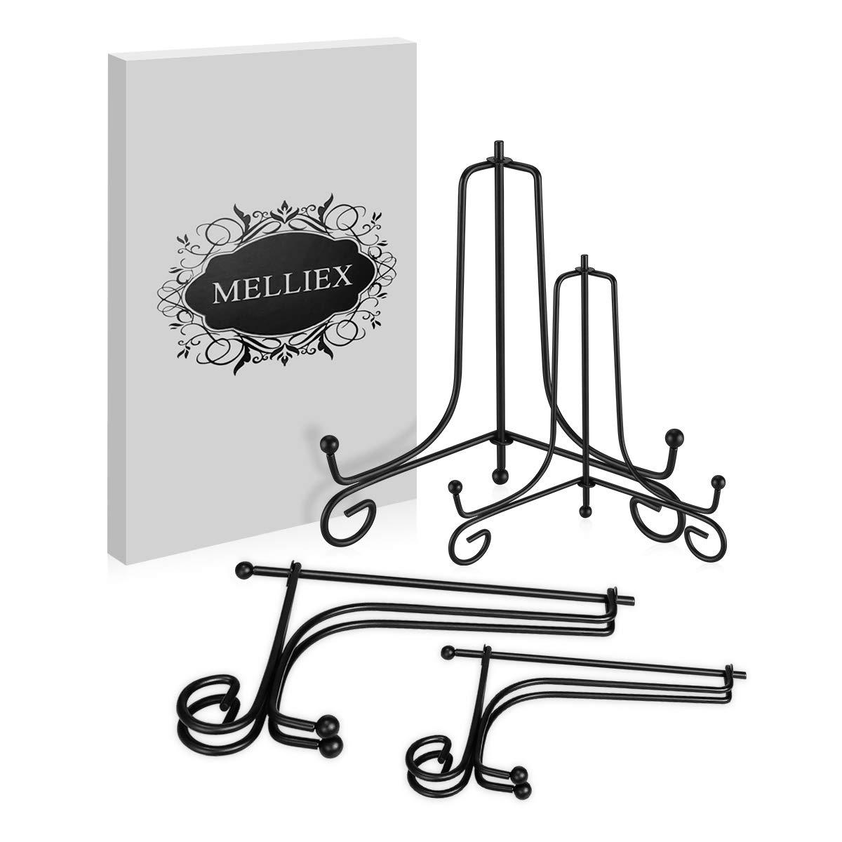 Piatti Tablet e Arte MELLIEX 4 /& 6 Pollici Ferro Supporto Cavalletto Decorativo per Foto Black 4 Pezzi cornici Libri di Cucina Piatti Decorativi