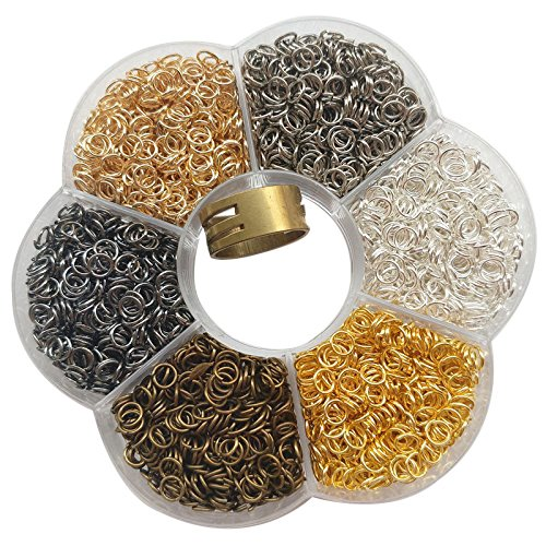 Chenkou Craft 1 Box 6 Colors 3000pcs Open Jump Ring & Ring Jewelry Keychain Making from 4mm to 10mm with 1 pc Jump Ring Open/Close Tool and 1 pc Clear Box (5mm) (5mm Open Ring)