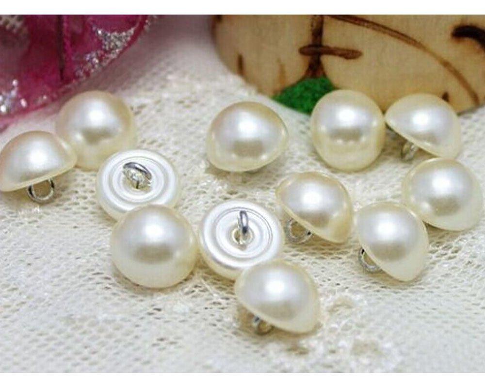 20pcs Pearl White Bead Cap Half Ball Dome Round Wedding Dress Buttons 10mm KimmyKu