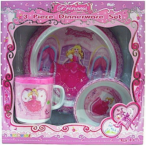 Cheap Pecoware / Pink 3 Piece Dinnerware Set With Plate Cup and Bowl, New Princess
