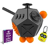 FabQuality Cube 12 Sides Anxiety Attention Toy With Minion Key Chain Gift + eBook Included - Relieves Stress And Anxiety And Relax for Children and Adults BONUS EBOOK is sent by email