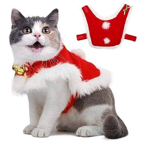 OWUDE Traje de Capa de Navidad para Mascotas con Campanas ...