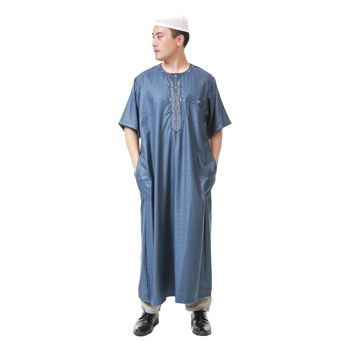 Coolred Men's Short-Sleeve Cotton Linen Blend Summer Plaid Muslim Thobe Dark Blue 56