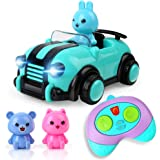 BeebeeRun Cartoon Remote Control Car,2CH Race Car Toys with Music,Lights and Animal Driver Figures Gift for Kids Boys…