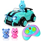 BeebeeRun Cartoon Remote Control Car Toys for 3 4 5 Year Old Kids Boys Girls, 2CH R/C Race Car with Music