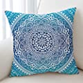 Sleepwish Elephant Mandala Pattern Pillow Case Crystal Arrays Blue Bedclothes Pillow Cover Mandala Printed Square Pillowcase 18x18 Inches 4