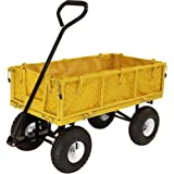 Sunnydaze Utility Garden Cart with Foldable Sides, Heavy-Duty 400 Pound Weight Capacity, Yellow