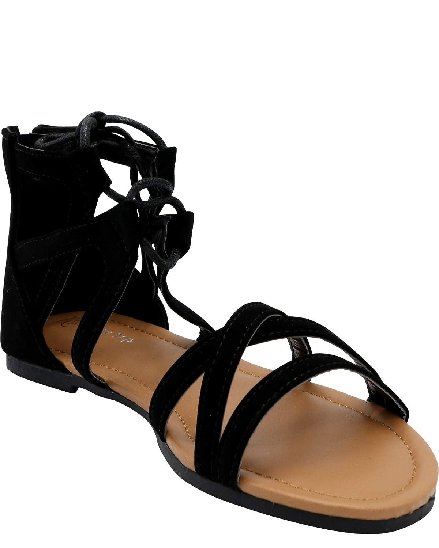 Lucky Top Girls Lacey Gladiator Sandal Black,Black,11
