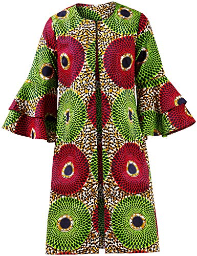 Shenbolen Women African Print Jacket Dashiki Traditional Top Dress(B,XXXX-Large) (African Print Dress)