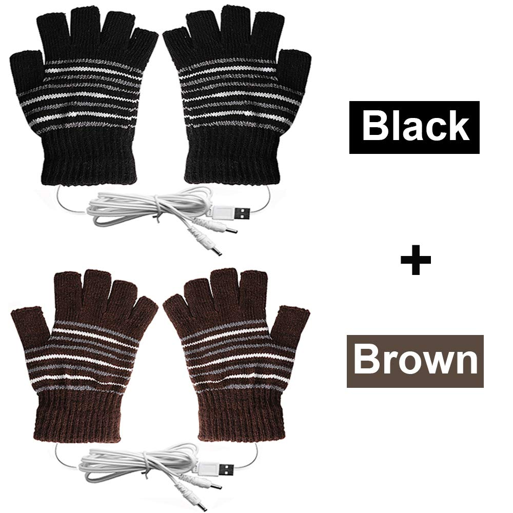 USB Heated Gloves for Men and Women Mitten, AIKIN USB 2.0 Powered Stripes Heating Pattern Knitting Wool Heated Gloves Hands Warmer Laptop Gloves Fingerless Washable Design Gift (Brown + Black) by AIKIN