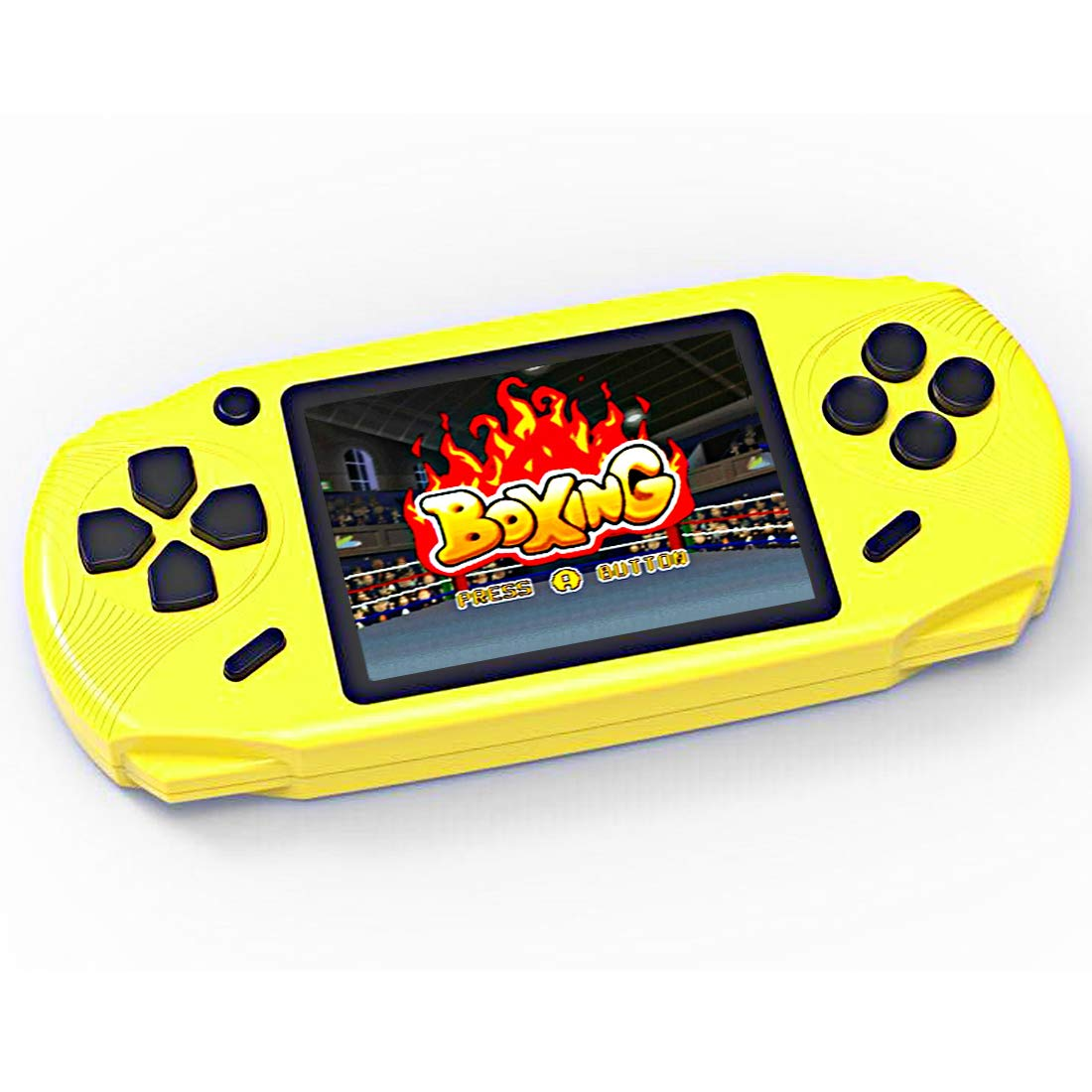 TEBIYOU Adults Kids Handheld Game Console, Portable Retro Game Player Built in 16 Bit 100 HD Classic Electronic Video Games 3.0'' Large Screen USB Rechargeable Handheld Game for Toddlers (Yellow) by TEBIYOU (Image #1)