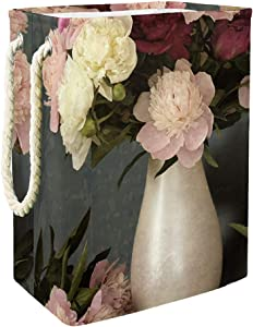 Unicey Vase of Peony Flowers Waterproof Laundry Hamper Collapsible Baskets for Home Organizer Baby Hamper