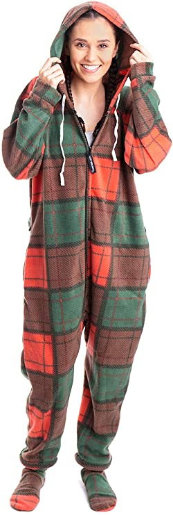 Forever Lazy Footed Adult Onesie - Holiday Plaid