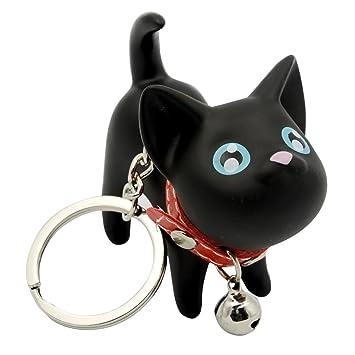 Vococal Gato muñeca Colgante Llavero de Metal Acero Inoxidable,Color Negro: Amazon.es: Juguetes y juegos