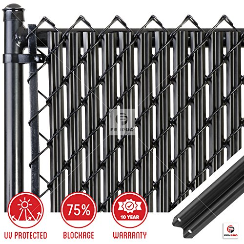 Chain-Link W Shape Bottom Lock Fence Slats (6-ft, Black)