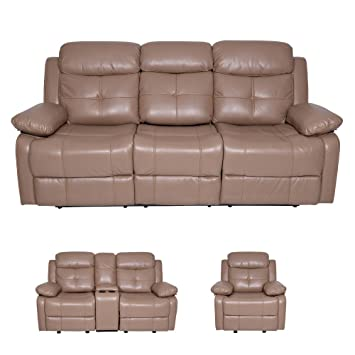 Stupendous Evok Alex Leatherette Recliner Sofa 3 Seater In Camel Color Squirreltailoven Fun Painted Chair Ideas Images Squirreltailovenorg