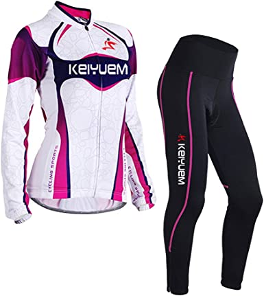 3D Padded Tights Pants LSERVER Womens Cycling Jersey Pants Set Womens Long Sleeve Cycling Jacket
