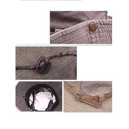a3f4b766de5 SAENSHING Men s Cotton Embroidery Fisherman Hat Mesh Visor Bucket Hats  Outdoor Wide Brim Sunshade Cap (Black)  Amazon.co.uk  Sports   Outdoors