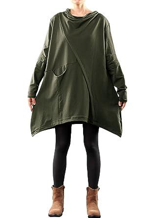 80e34033aaa6 Mordenmiss Women's Pile Collar Sweatshirt Twill Asymmetry Baggy Midi Dress  Pullover S Army Green