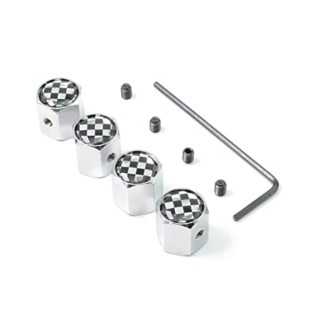4pcs Cadillac White Anti-theft Car Wheel Tire Valve Stem Caps with Long Sticker