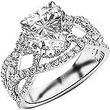 1.95 Ctw 14K White Gold Eternity Love Intertwine Twisting Split Shank Pave-set Round Diamond Ring Heart Shape (1.2 Ct H…