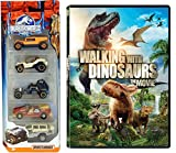 Jurassic World Car Set & Walking with Dinosaurs Movie Set DVD Edition Matchbox 5 pack