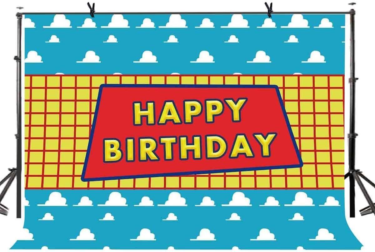 EdCott 7x5ft Toy Story Tema Contexto Feliz Cumpleaños Fiesta Niños Hijo Dibujos Animados Amarillo Cuadrícula Blanco Nube Azul Fondos para Photoshop Studio Telones de Fondo